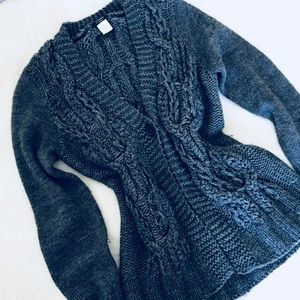 Dark grey wool J Crew sweater with button